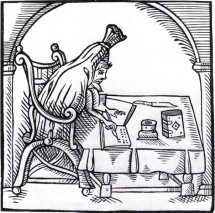"This 1598 woodcut is the only likeness we have of Robert Greene. It depicts him writing one of his ""repentance"" pamphlets (hence the sackcloth he's wearing)."